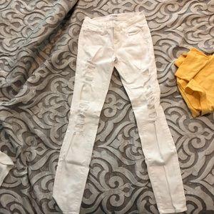 FRAME Denim Le Skinny Jeanne White Ripped Jeans
